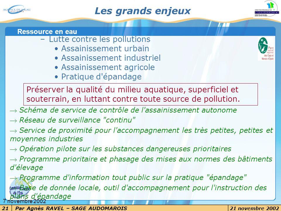 Les grands enjeux Lutte contre les pollutions Assainissement urbain