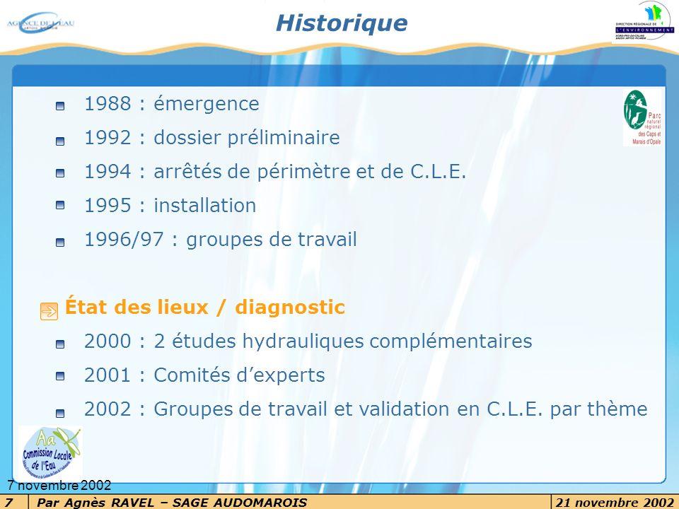 Historique 1988 : émergence 1992 : dossier préliminaire