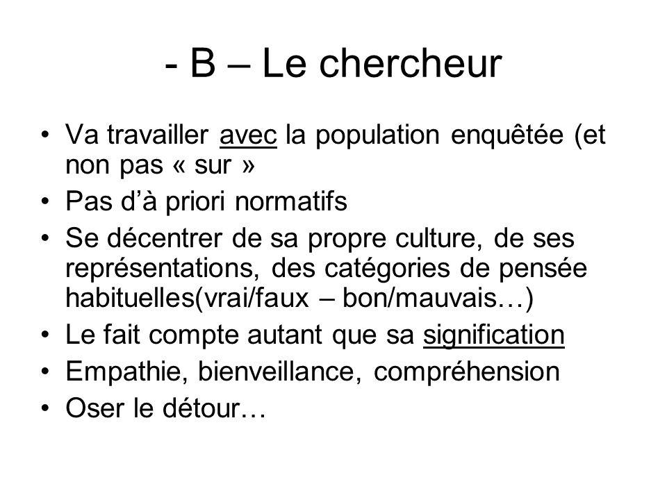 - B – Le chercheur Va travailler avec la population enquêtée (et non pas « sur » Pas d'à priori normatifs.