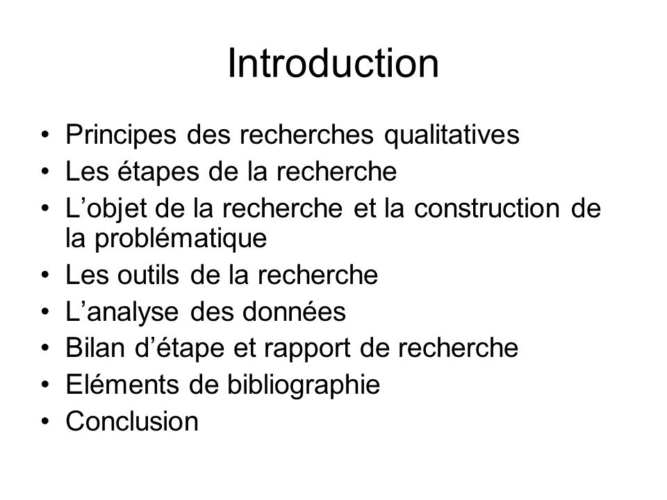 Introduction Principes des recherches qualitatives