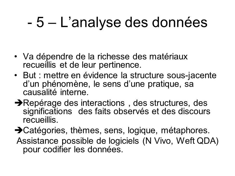 - 5 – L'analyse des données