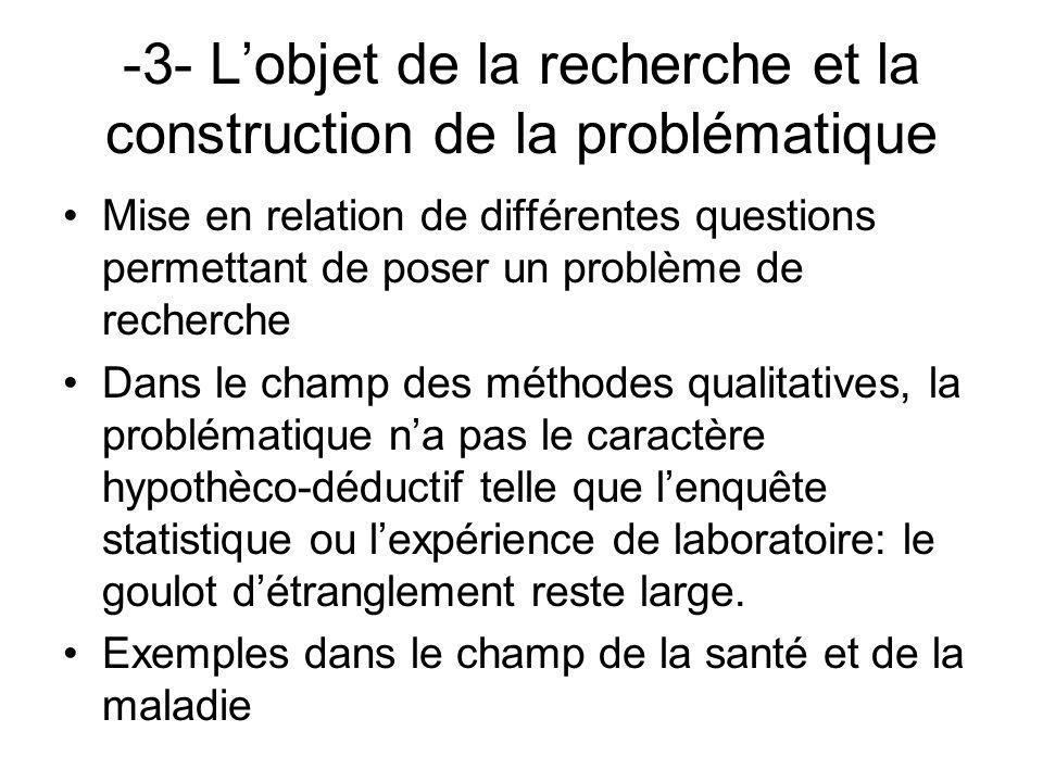 -3- L'objet de la recherche et la construction de la problématique