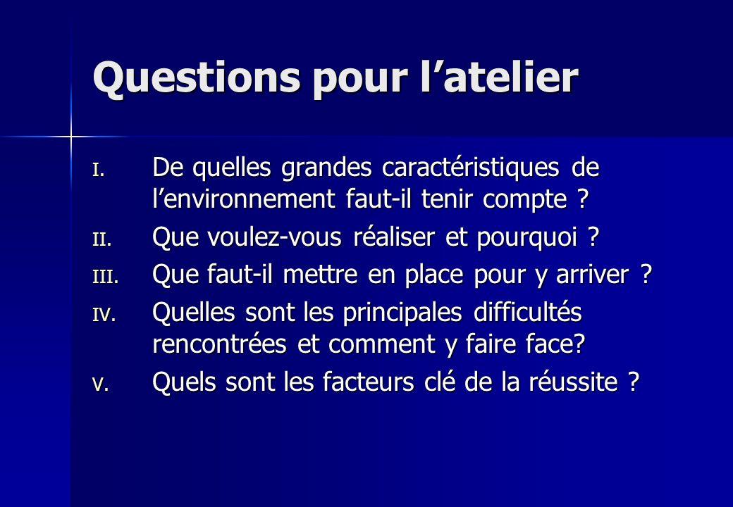 Questions pour l'atelier