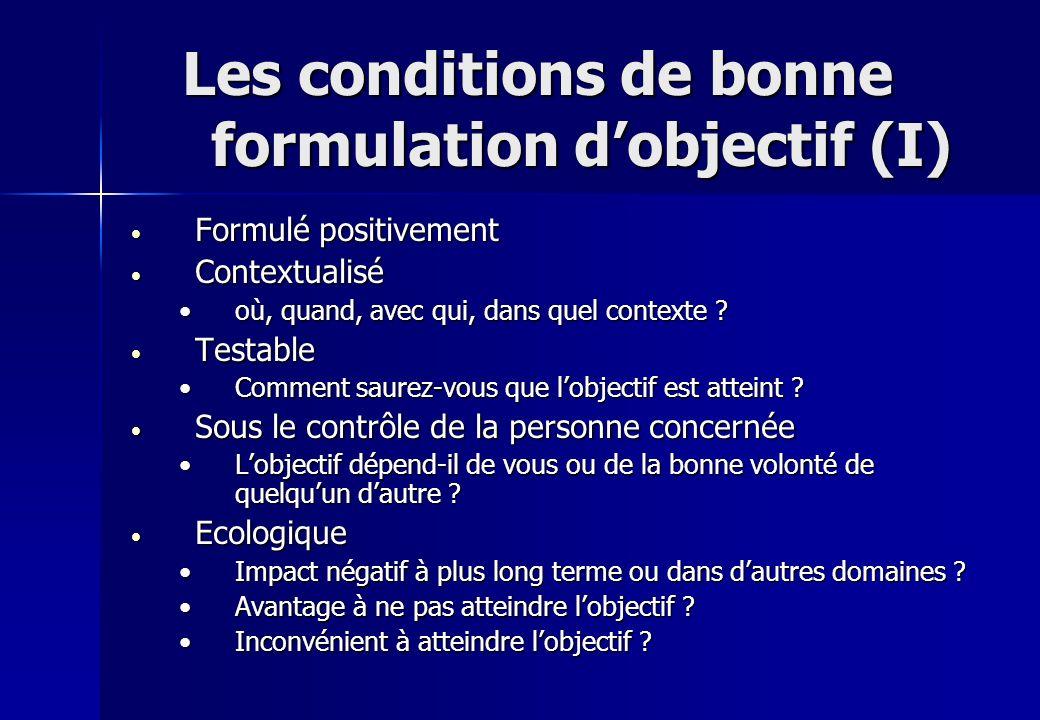 Les conditions de bonne formulation d'objectif (I)