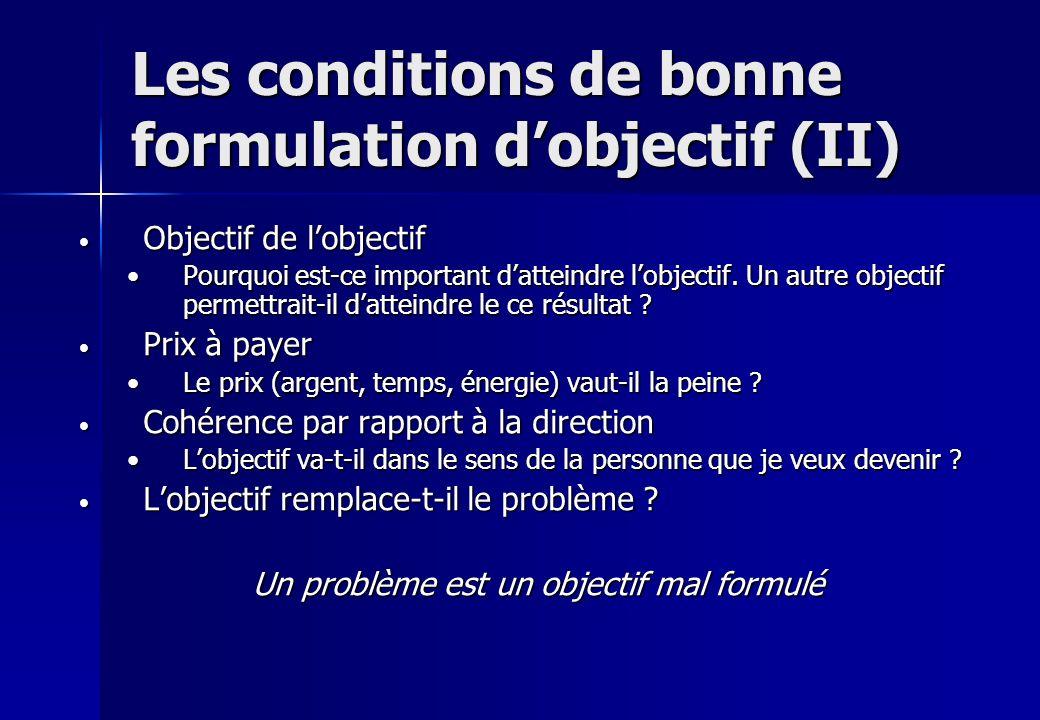 Les conditions de bonne formulation d'objectif (II)
