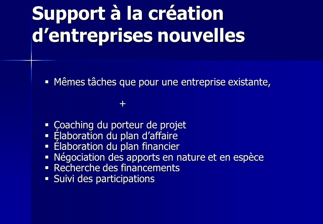 Support à la création d'entreprises nouvelles