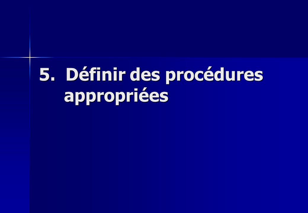 5. Définir des procédures appropriées