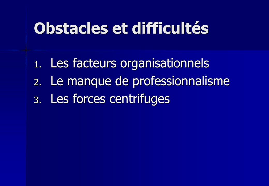 Obstacles et difficultés