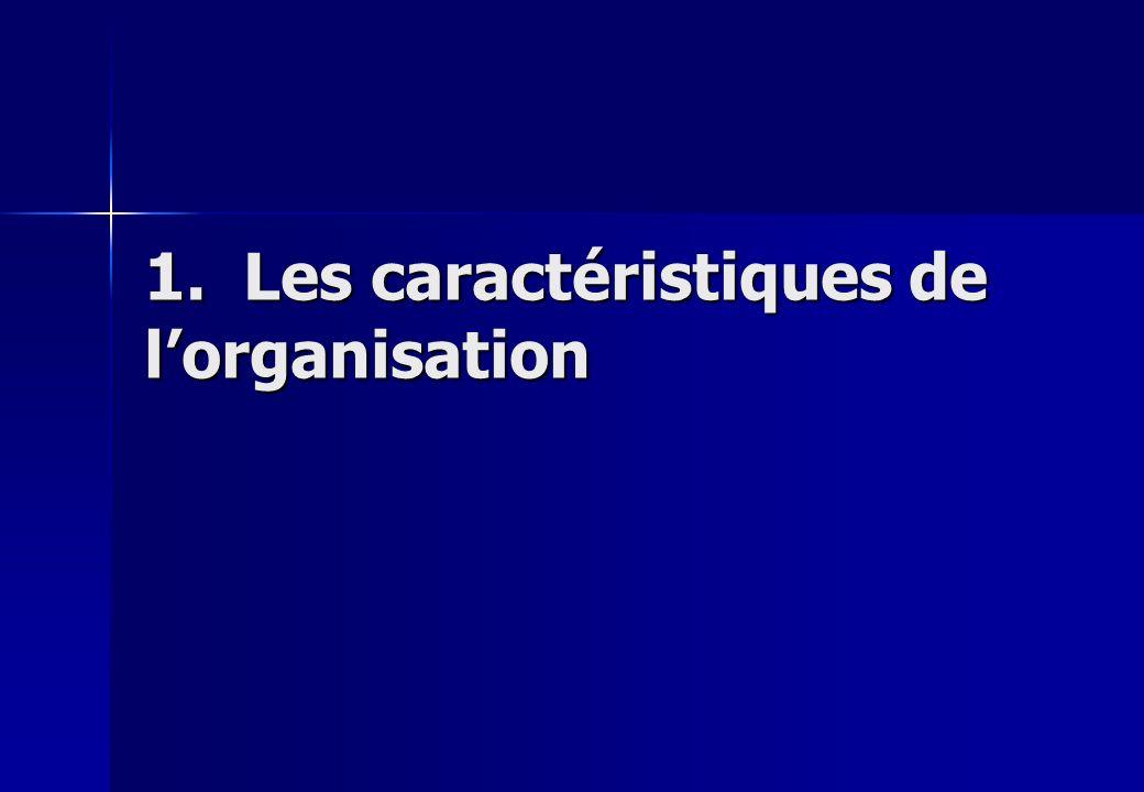 1. Les caractéristiques de l'organisation