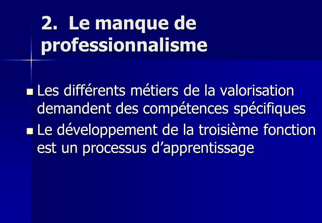 2. Le manque de professionnalisme