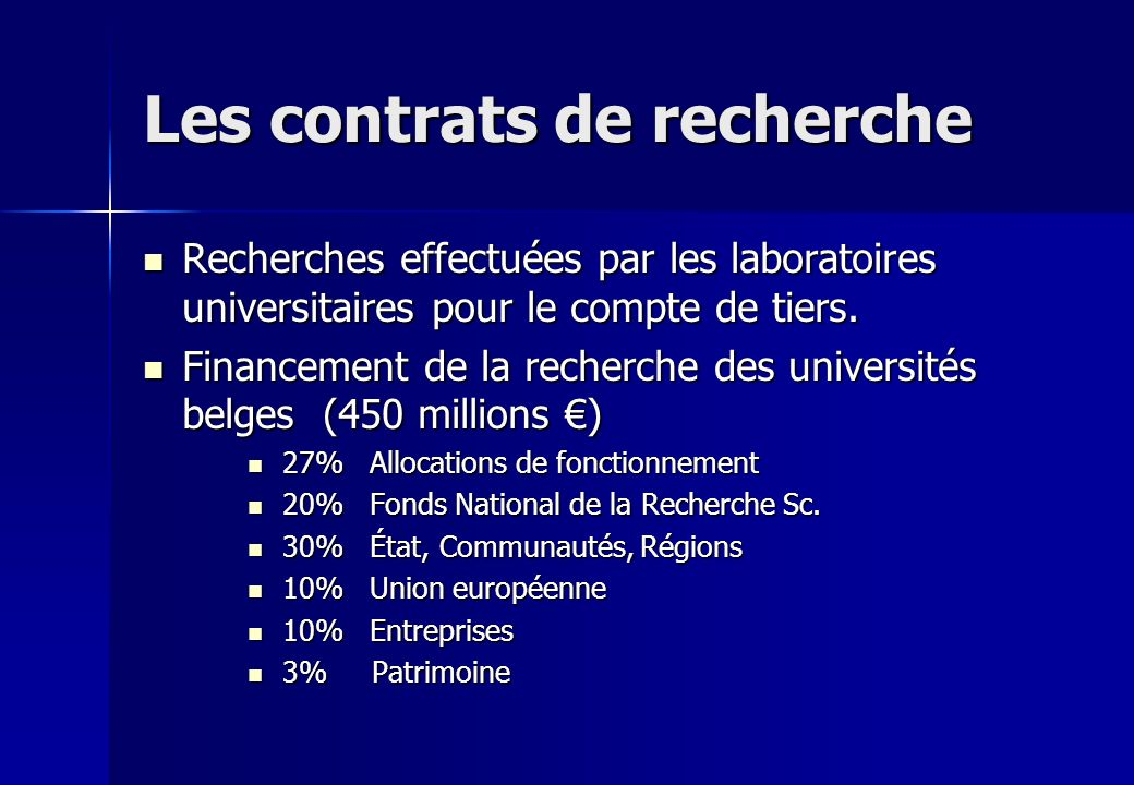 Les contrats de recherche