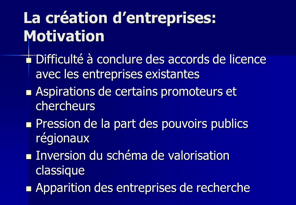 La création d'entreprises: Motivation