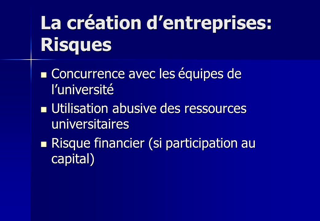 La création d'entreprises: Risques