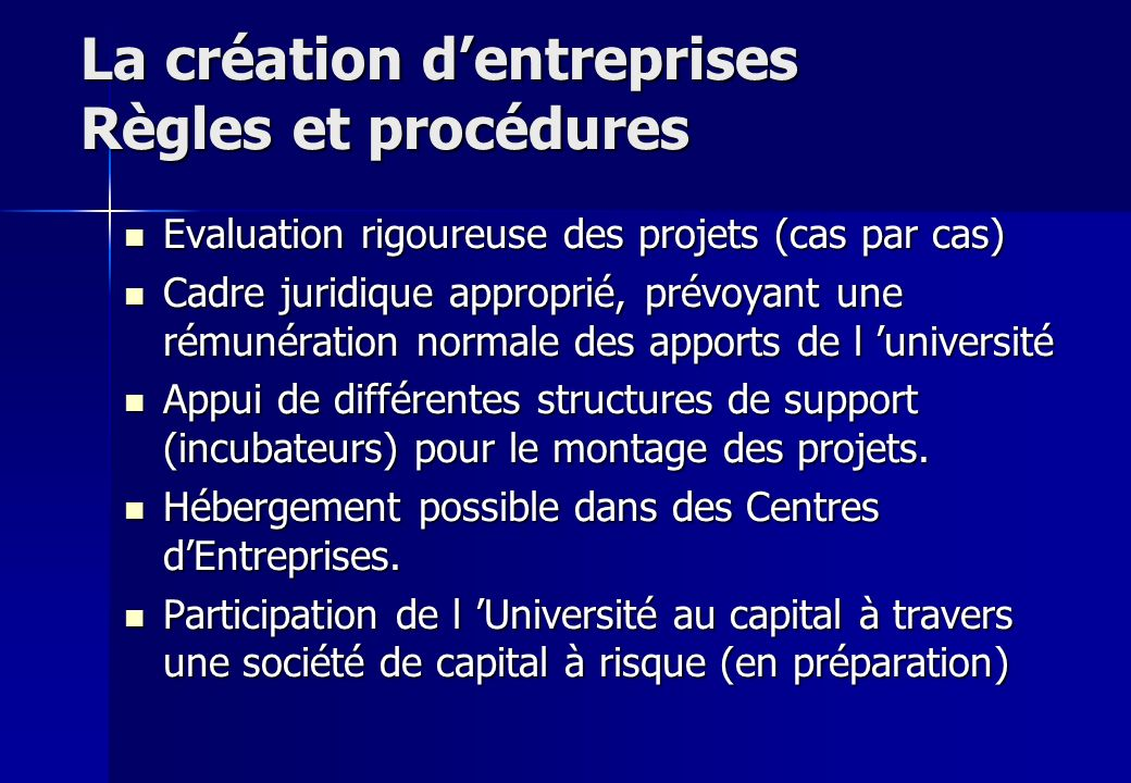 La création d'entreprises Règles et procédures
