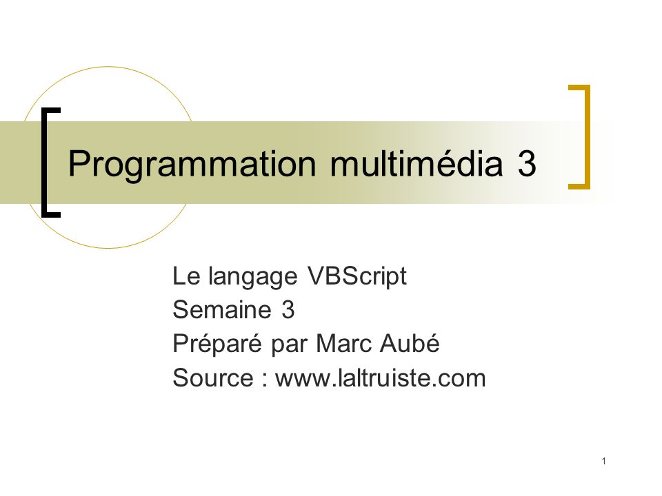 Programmation multimédia 3