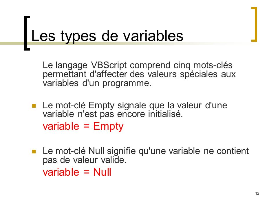 Les types de variables variable = Empty variable = Null