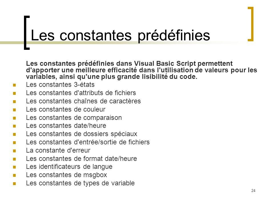 Les constantes prédéfinies