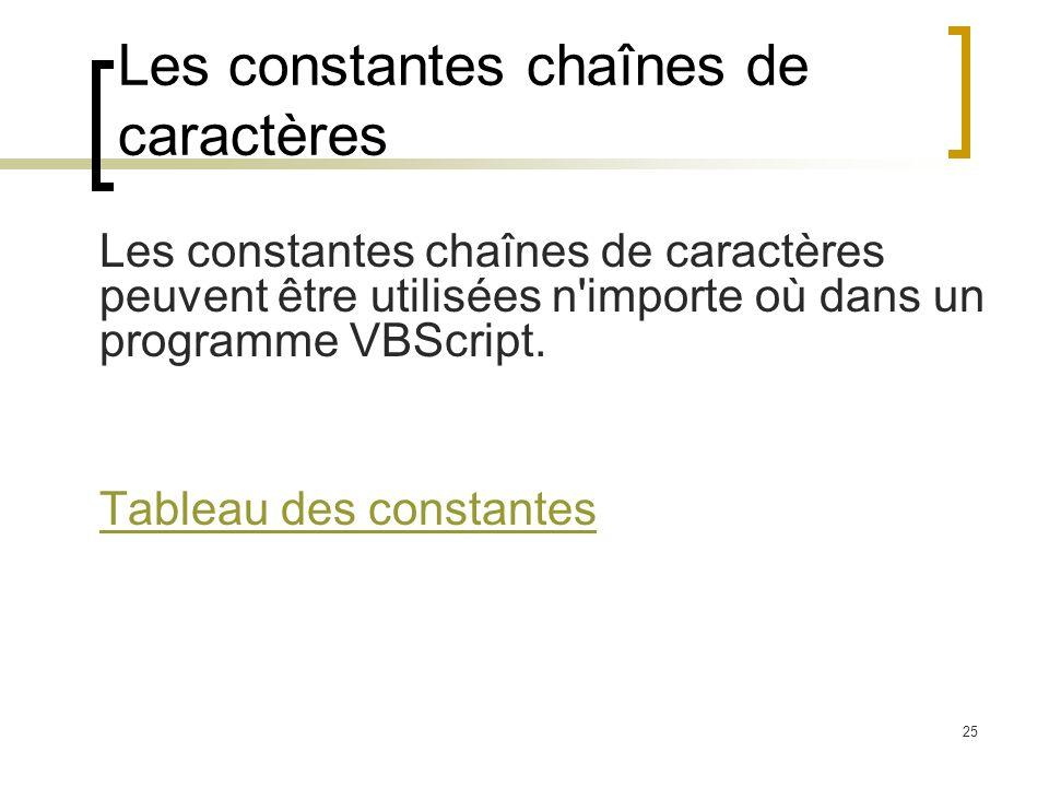 Les constantes chaînes de caractères