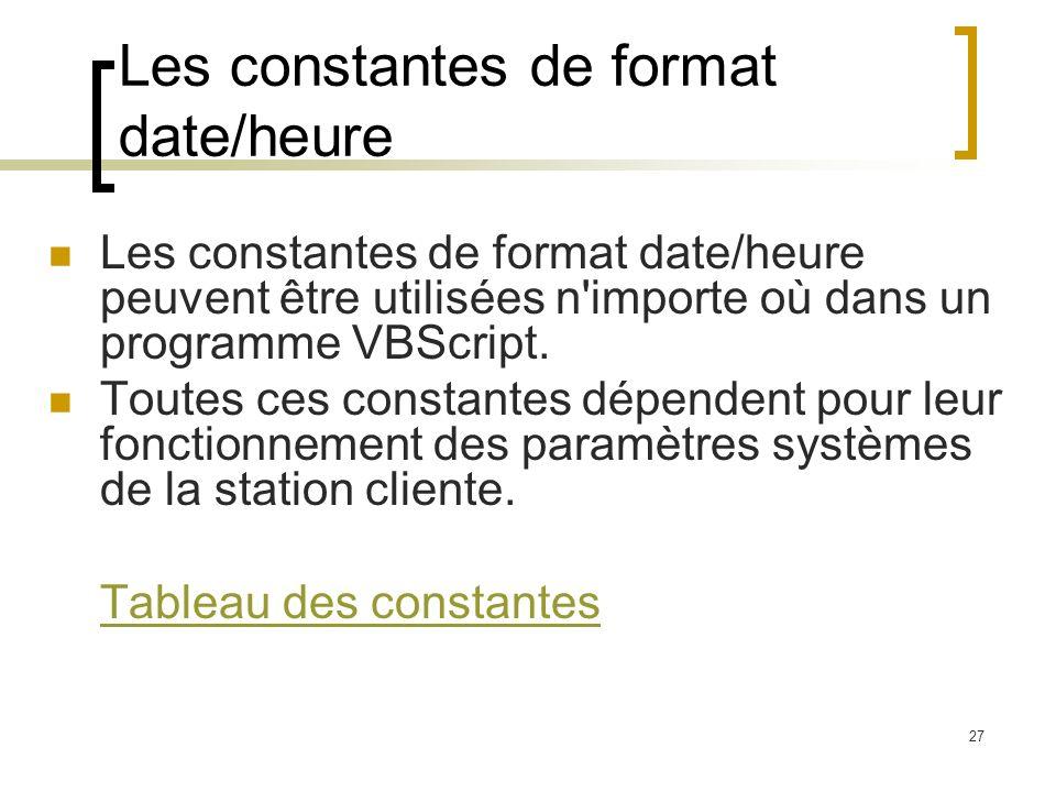 Les constantes de format date/heure