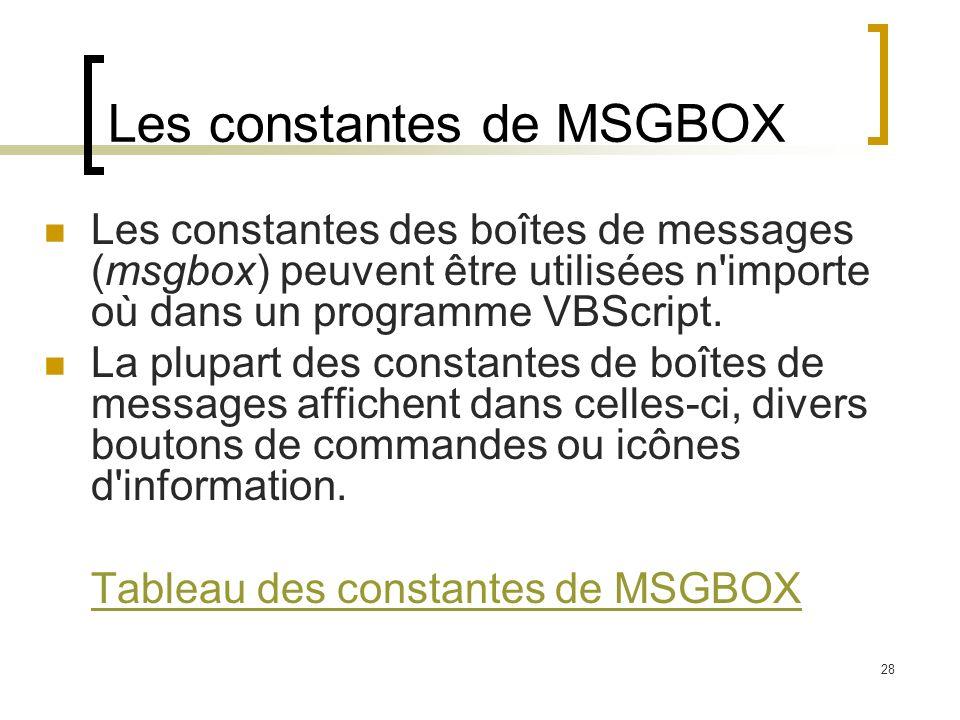 Les constantes de MSGBOX