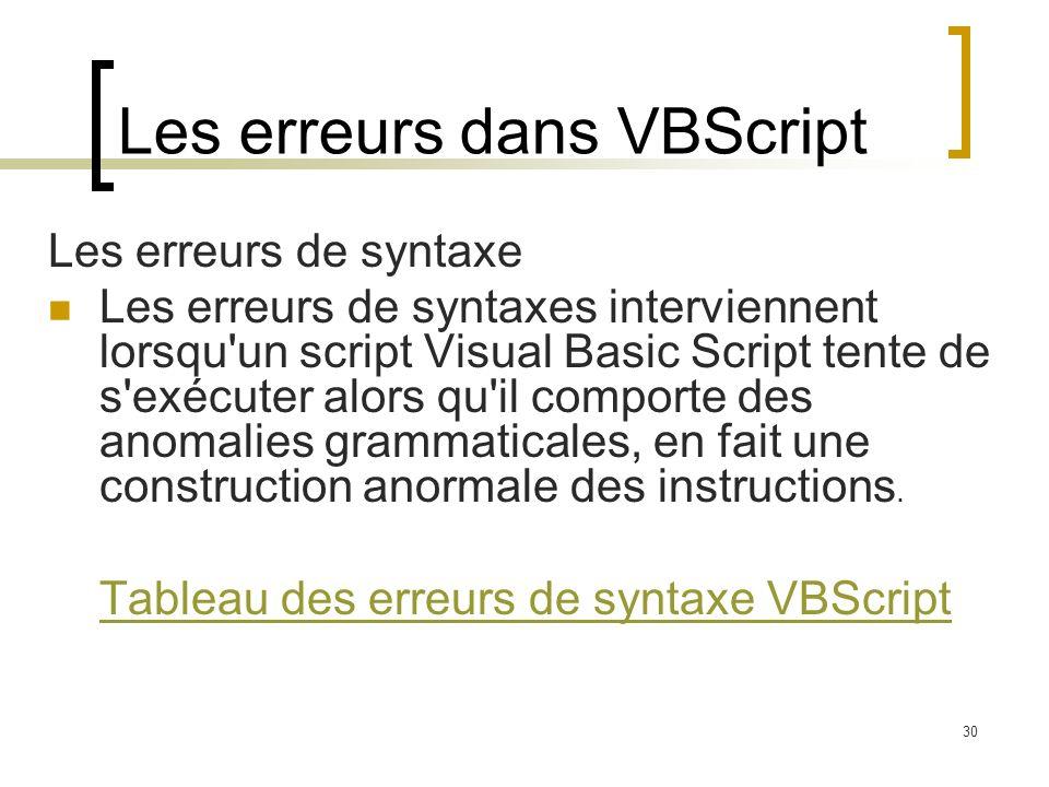Les erreurs dans VBScript