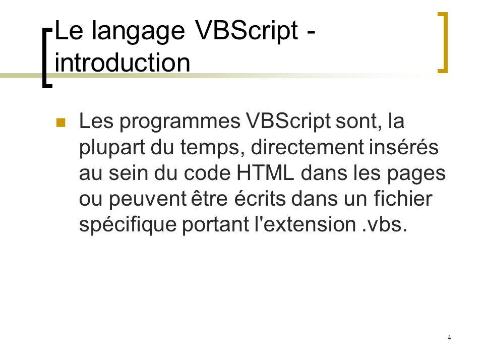 Le langage VBScript - introduction