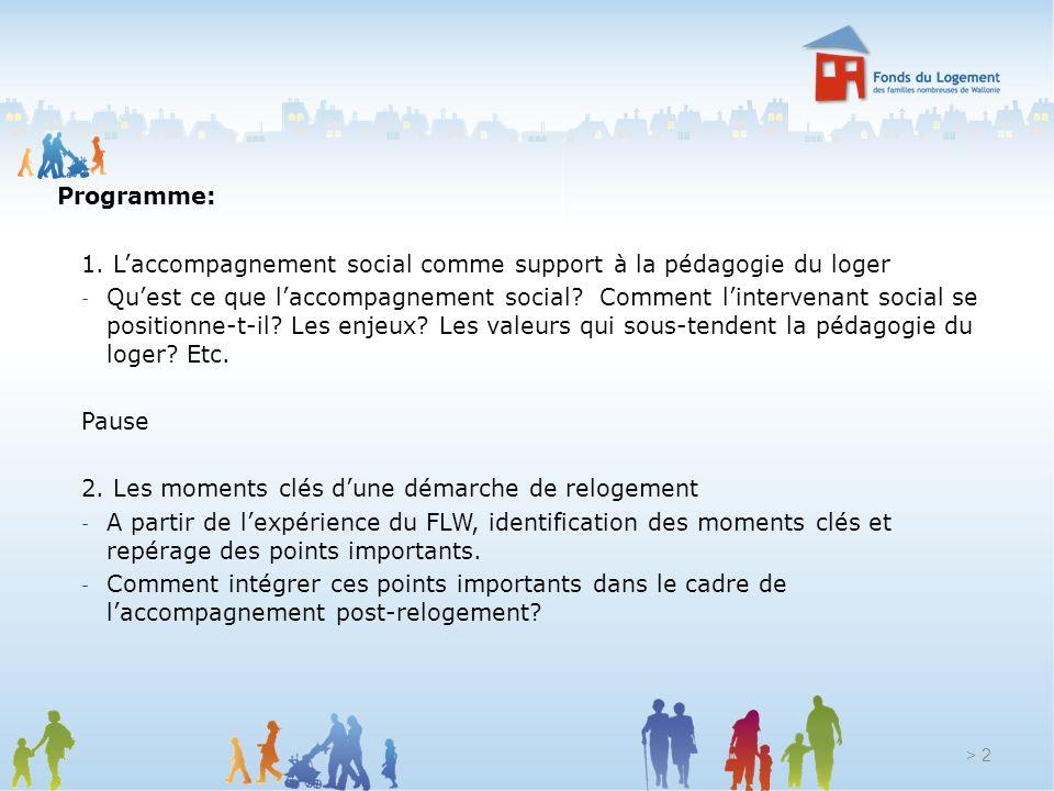 Programme: 1. L'accompagnement social comme support à la pédagogie du loger.