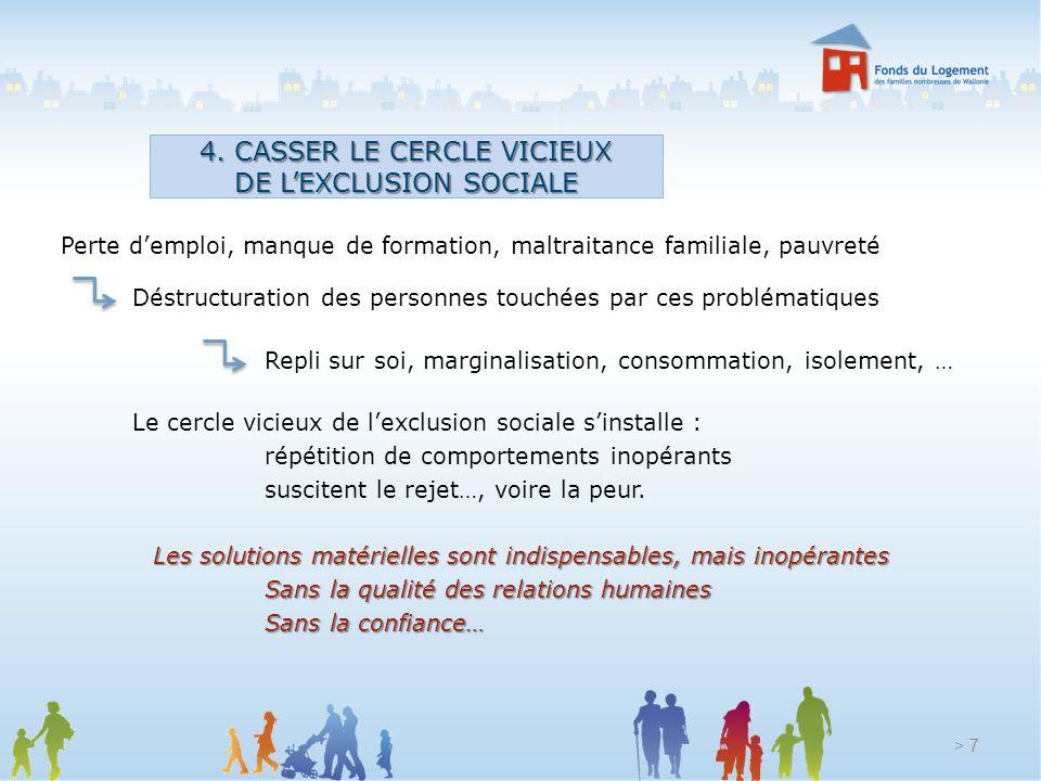 4. CASSER LE CERCLE VICIEUX DE L'EXCLUSION SOCIALE