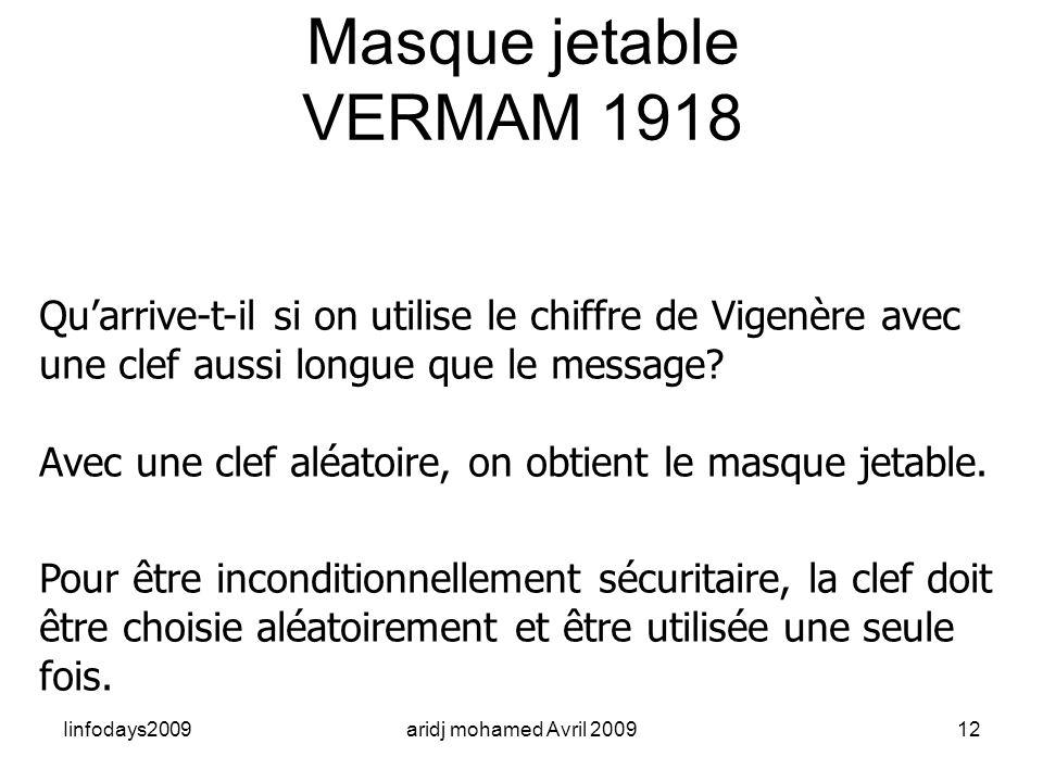 Masque jetable VERMAM 1918. Qu'arrive-t-il si on utilise le chiffre de Vigenère avec une clef aussi longue que le message