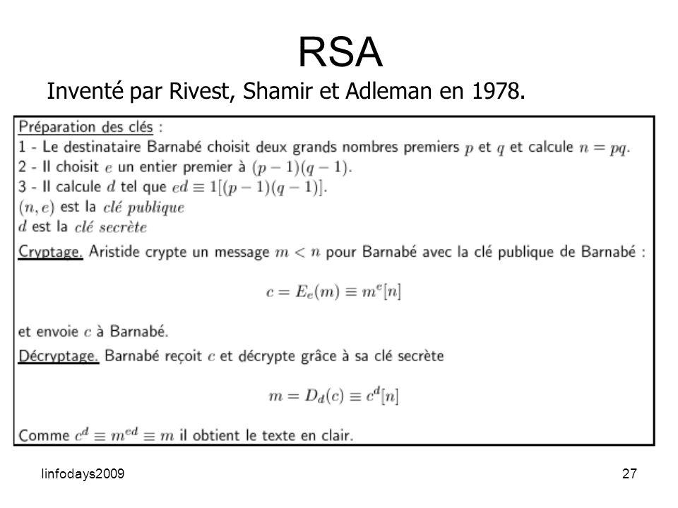 RSA Inventé par Rivest, Shamir et Adleman en 1978. Iinfodays2009