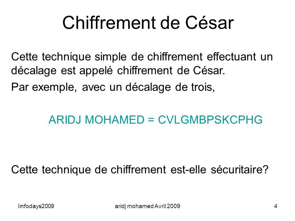 infodays2009 Chiffrement de César. 31/03/2017. Cette technique simple de chiffrement effectuant un décalage est appelé chiffrement de César.