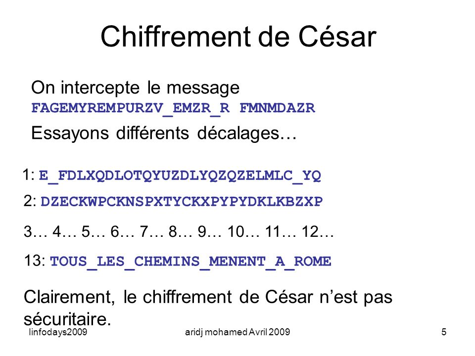 Chiffrement de César On intercepte le message