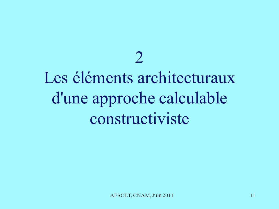 2 Les éléments architecturaux d une approche calculable constructiviste