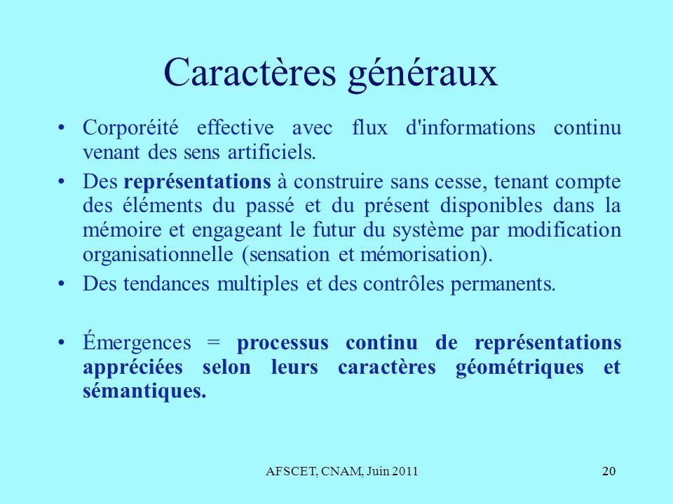 Caractères généraux Corporéité effective avec flux d informations continu venant des sens artificiels.