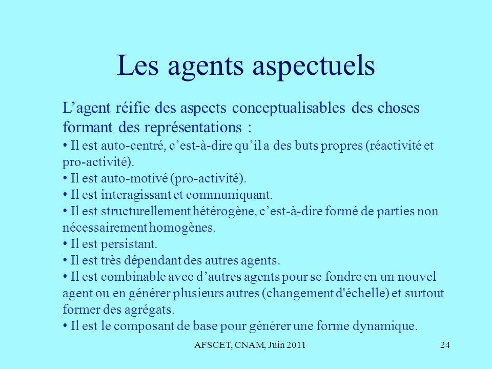 Les agents aspectuels L'agent réifie des aspects conceptualisables des choses formant des représentations :