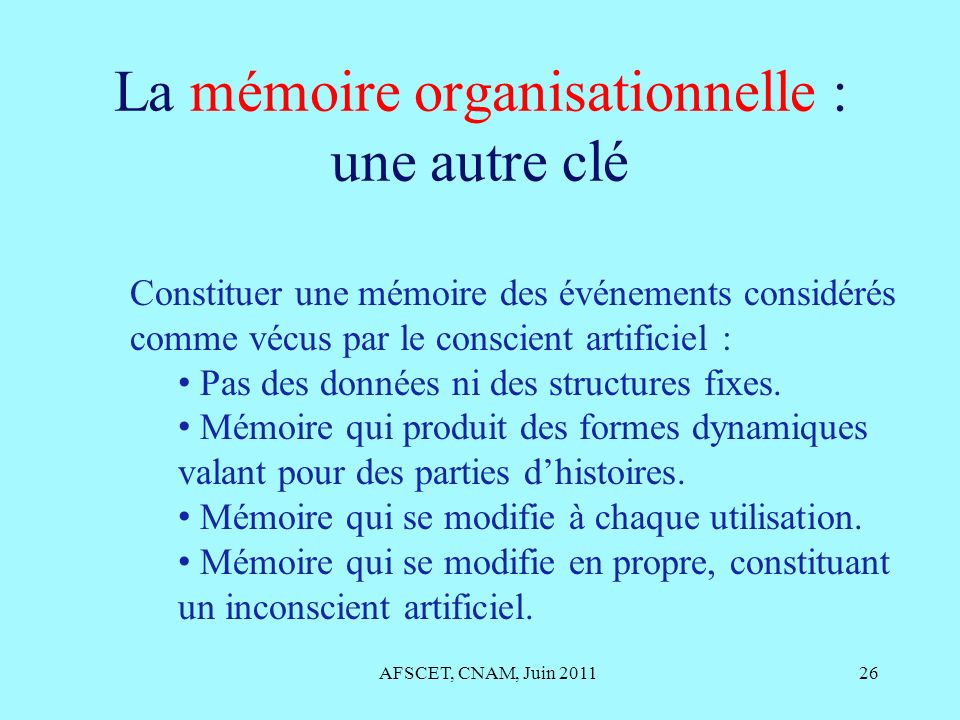 La mémoire organisationnelle : une autre clé