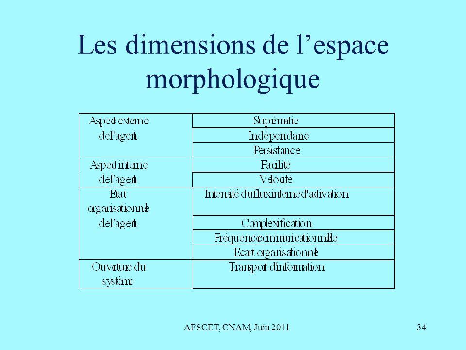Les dimensions de l'espace morphologique