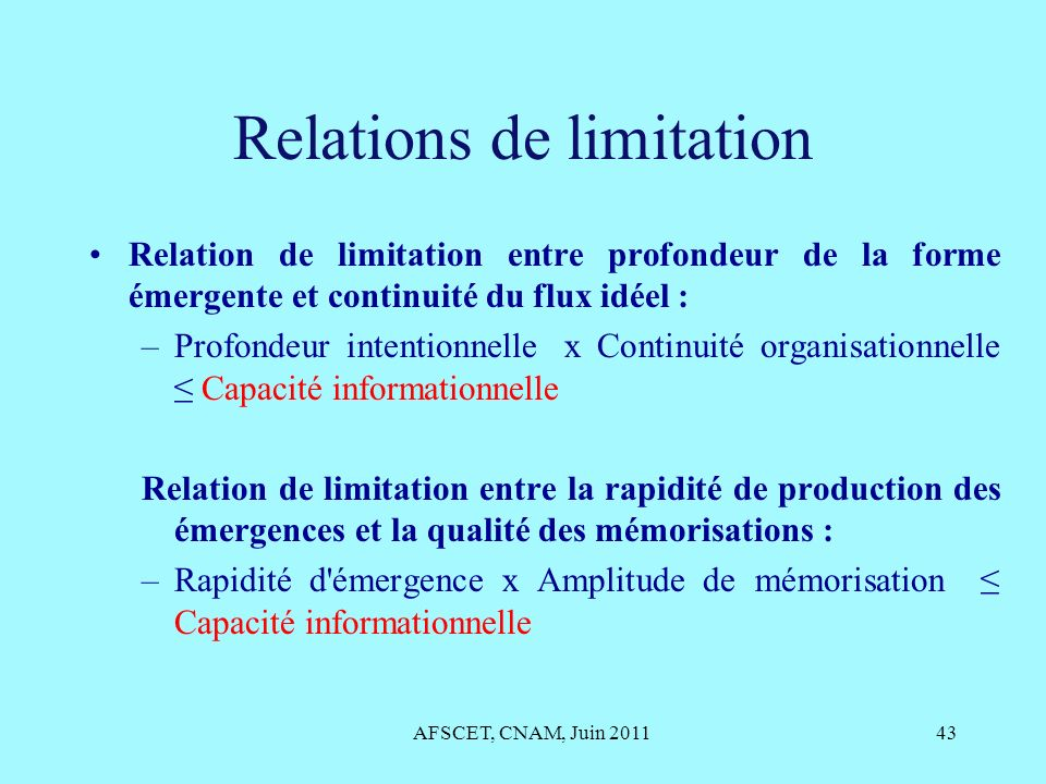 Relations de limitation