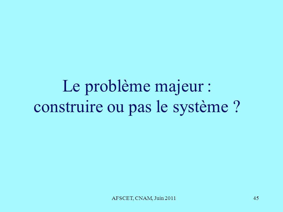 Le problème majeur : construire ou pas le système