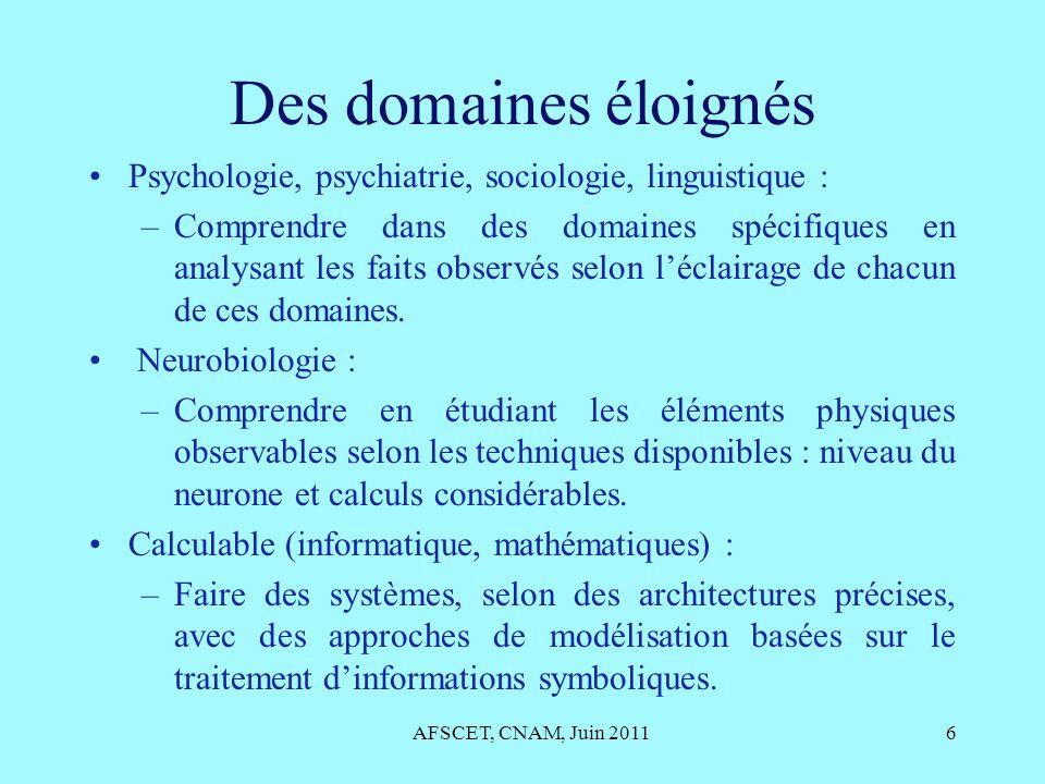 Des domaines éloignés Psychologie, psychiatrie, sociologie, linguistique :