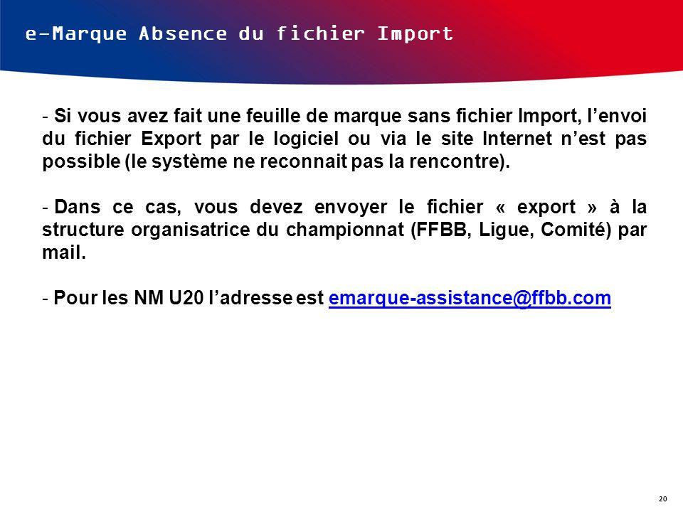 e-Marque Absence du fichier Import