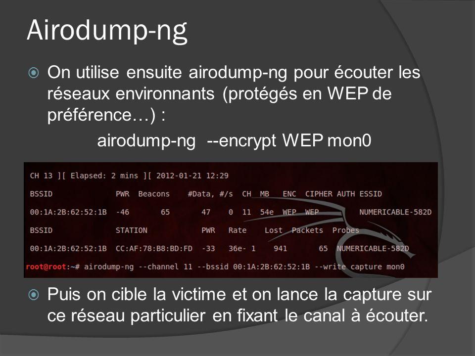 airodump-ng --encrypt WEP mon0