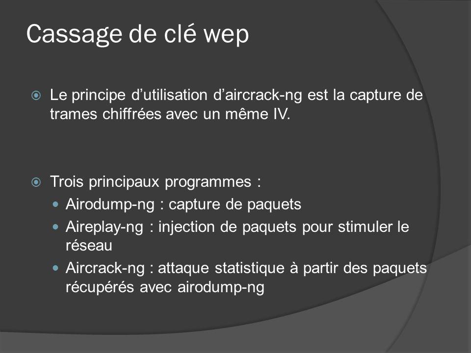 Cassage de clé wep Le principe d'utilisation d'aircrack-ng est la capture de trames chiffrées avec un même IV.