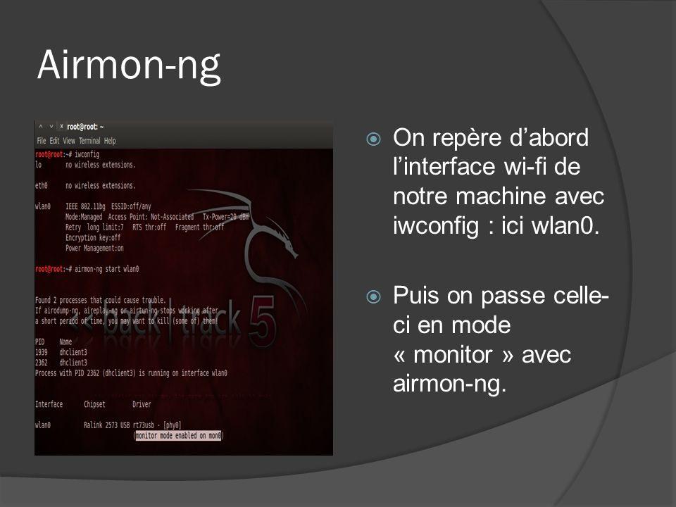 Airmon-ng On repère d'abord l'interface wi-fi de notre machine avec iwconfig : ici wlan0.