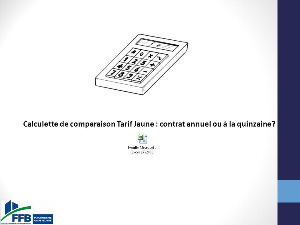 Calculette de comparaison Tarif Jaune : contrat annuel ou à la quinzaine