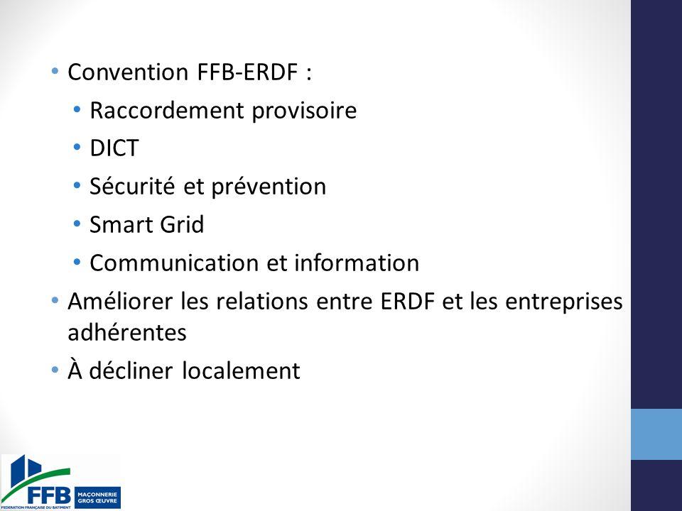 Convention FFB-ERDF : Raccordement provisoire. DICT. Sécurité et prévention. Smart Grid. Communication et information.