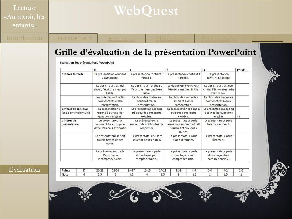 Grille d'évaluation de la présentation PowerPoint