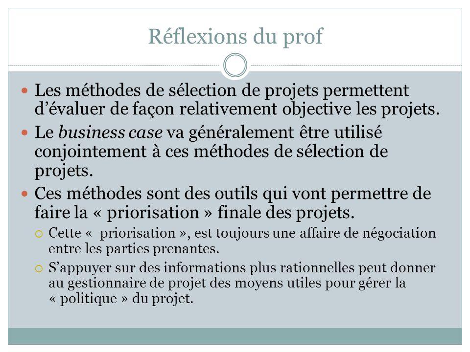 Réflexions du prof Les méthodes de sélection de projets permettent d'évaluer de façon relativement objective les projets.