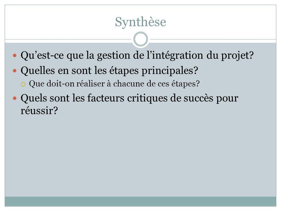 Synthèse Qu'est-ce que la gestion de l'intégration du projet