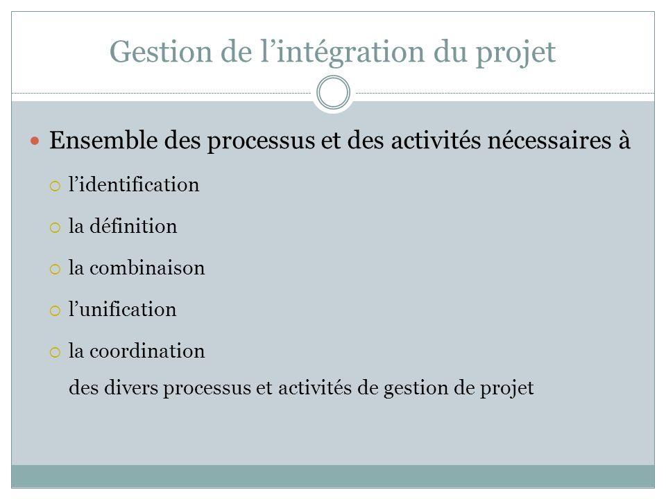 Gestion de l'intégration du projet
